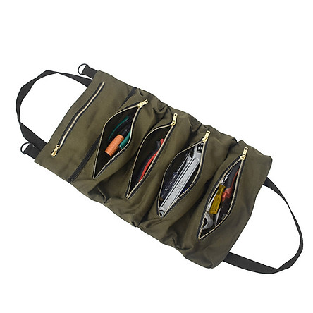 Versatile Roll Tool Roll Multi-Purpose Tool Roll Up Bag Wrench Roll Pouch Hanging Tool Zipper Carrier Tote Canvas Tool
