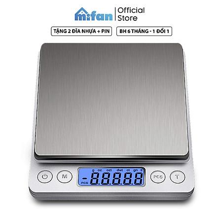 Cân Điện Tử Mini Cao Cấp 2021 MIFAN 0.01g - 3kg - Nhỏ Gọn, Siêu Chính Xác, Thép Không Gỉ, Màn LCD -Tặng 2 Đĩa Cân Và Pin