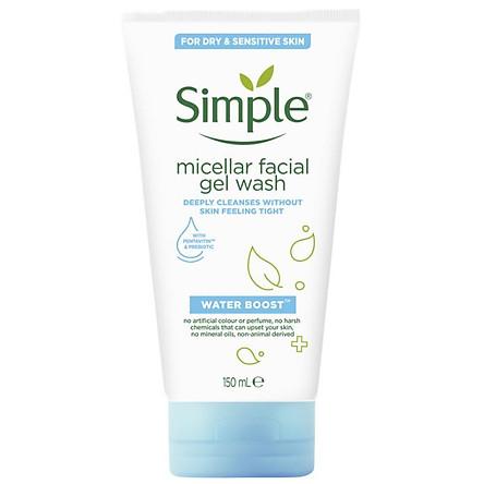 Sữa rửa mặt Simple Water Boost Micellar Facial Gel Wash 150ml