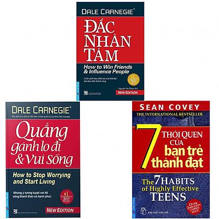 Combo Đắc Nhân Tâm, Quẳng Gánh Lo Đi Và Vui Sống, 7 Thói Quen Của Bạn Trẻ Thành Đạt (tặng kèm 3 bọc sách plastic cao cấp)