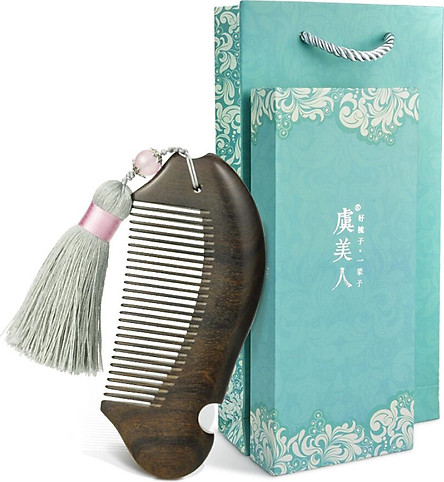 Yu Mei Man comb comb water yellow poplar comb with Sui Su Yan gift box Valentine Day gift