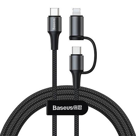 Dây cáp sạc nhanh 60W2 in 1 USB Type-C to Type-C và Lightninghiệu Baseus Twins cho iPhone / iPad / Macbook chuẩn QC 3.0 & PD 3.0 (Sạc nhanh 3A, truyền dữ liệu 480 Mbps, công nghệ SR) - Hàng nhập khẩu