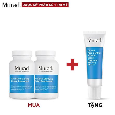 Mua 2 Viên uống Murad Pure Skin Clarifying Dietary Supplement 120 viên Tặng Oil and Pore Control Mattifier SPF 45 PA++++