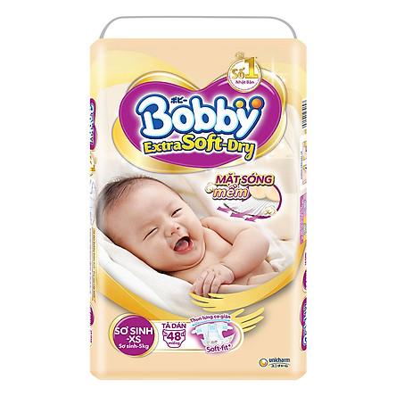Tã Dán Siêu Mềm Bobby Extra Soft Dry Gói Lớn XS48 (48 Miếng)