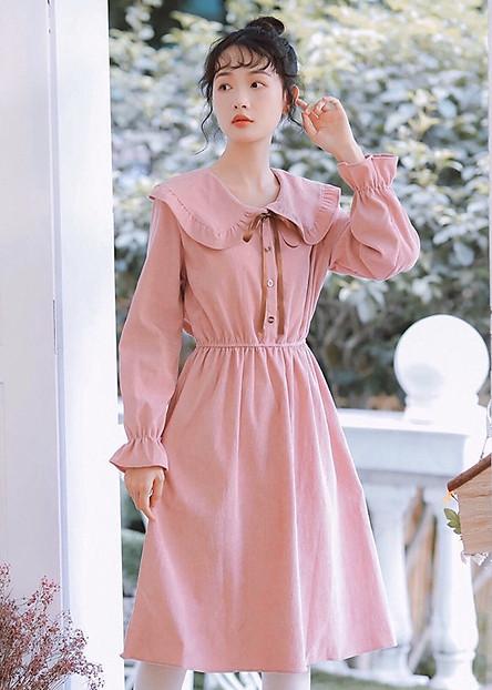 Đầm hồng cổ bèo tay dài