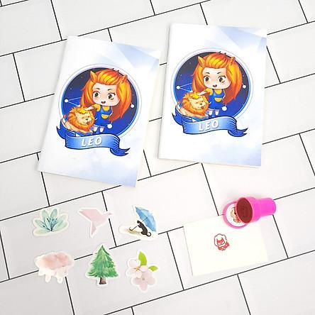 Bộ Sưu Tập Cá Tính Cung Hoàng Đạo Gồm 2 Sổ Tay Và 1 Con Dấu Tặng Kèm 6 Sticker Mini Mẫu Ngẫu Nhiên - sư tử