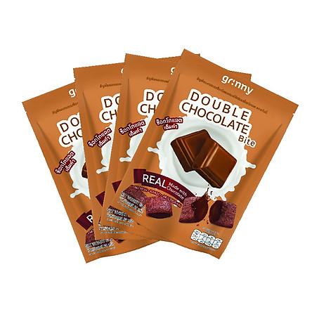 Combo 4 gói Bánh snack Ngũ Cốc Grinny nhân Sô Cô La - Double Chocolate