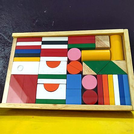 Bộ cờ quốc gia bằng gỗ, đồ chơi lắp ghép sáng tạo cho bé