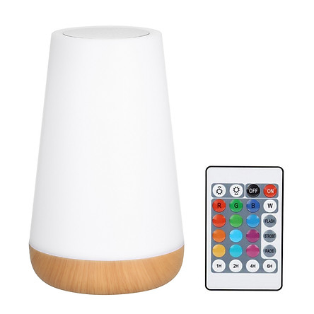Touching Control Bedside Table Lamp with Remote Control USB Rechargeable 3 Level Dimmable Warm White & RGB Color