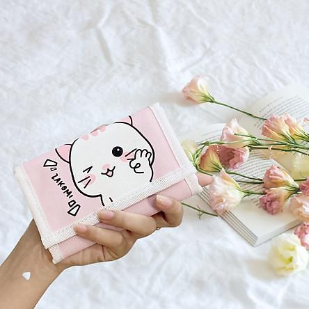 Bóp ví nữ mini con mèo cute Z_VIMEO, ví ngắn nhỏ gọn xinh xắn dạng gập 3 dùng đựng thẻ card tiền cho các bạn nữ-TẶNG KÈM DÂY ĐEO