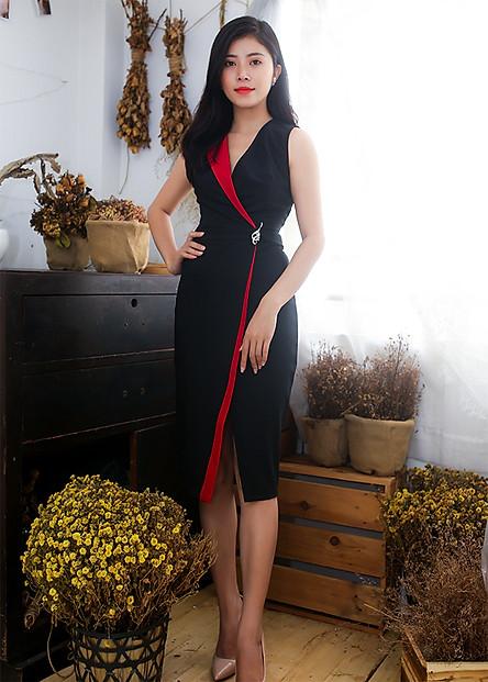 Đầm ôm dự tiệc kiểu đầm ôm body phối màu kèm phụ kiện sang trọng ROMI3047