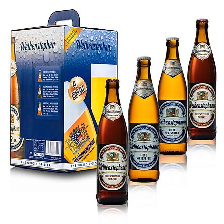 Combo 4 chai bia Đức Weihenstephan 500 ml ( 2 Hefeweissbier + 2 Dunkel)