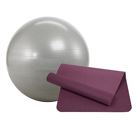 Combo Thảm Tập Yoga Zera Mat (8mm) Và Bóng Tập Trơn Sportslink SCB01 (65cm) (Màu Ngẫu Nhiên) - Tặng Dung Dịch Vệ Sinh Lavender Mint