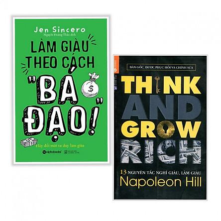 """Combo 2 cuốn  sách kinh tế hay nhất: Làm Giàu Theo Cách """"Bá Đạo"""" + 13 Nguyên Tắc Nghĩ Giàu Làm Giàu - Think And Grow Rich ( Tặng kèm bookmark)"""