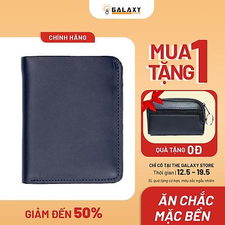 Ví Nam Bóp Nam Da Bò Thật Có Khe SIM Galaxy Store GVN06 (Xanh Navy)