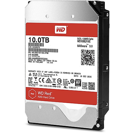 Ổ Cứng HDD NAS WD Red 10TB/256MB/5400/3.5 - WD100EFAX - Hàng chính hãng