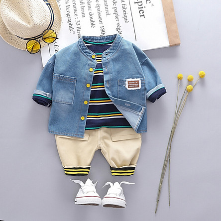 Fashion Handsome Striped Pattern Children Suit Korean Long-sleeved Top Bib Pants Two-piece Boys Set