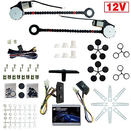 12V Car Auto Universal 2-Doors Electric Power Window Kits Switches Harness
