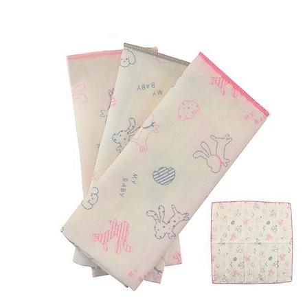Khăn tay hình cún con đáng yêu MYBABY (3 chiếc/ túi) - Hồng - combo 6 gói