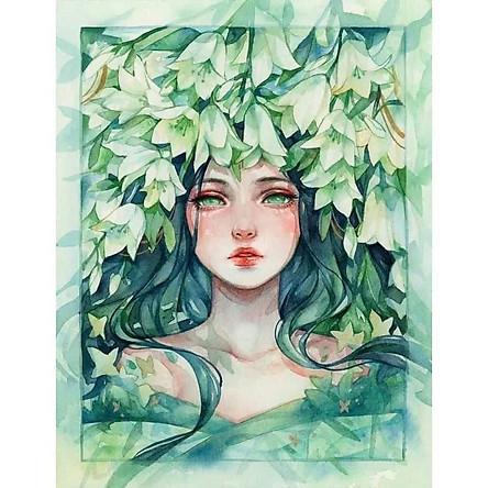 Tranh sơn dầu số hóa rẻ,đẹp-tranh tô màu theo số- tranh thiếu nữ, Tặng khăn,khung gỗ 40x50cm