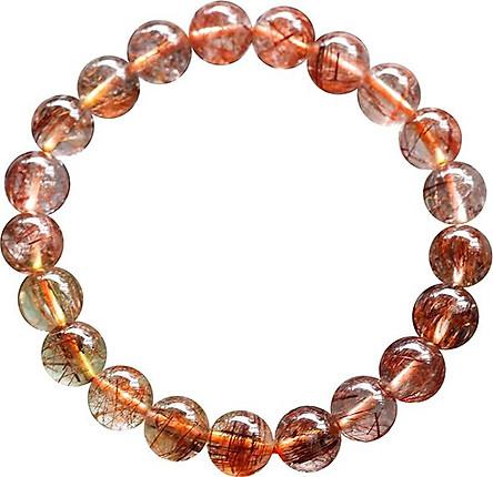 Vòng Thạch Anh Tóc Đỏ Myanmar 9.5mm Ngọc Quý Gemstones VT121