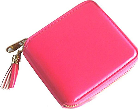 Women PU Leather Pure Color Wallet Lovely Mini Purse Coins Bag with Tassel Pendant