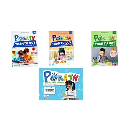 Combo 3 cuốn pomath toán tư duy 1, 2,3 và  Bộ Học Liệu Kèm Sách POMath - Học Toán Qua Trò Chơi (tặng kèm bút chì dễ thương )