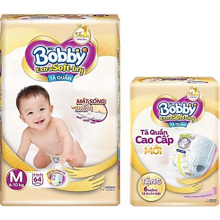 Tã Quần Bobby Extra Soft Dry M64 [Tặng 6 Miếng Tã Quần size M]