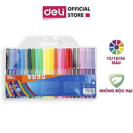 Bút màu nước học sinh Deli, 1.0mm, 12 màu - 18 màu - 24 màu/hộp E37171