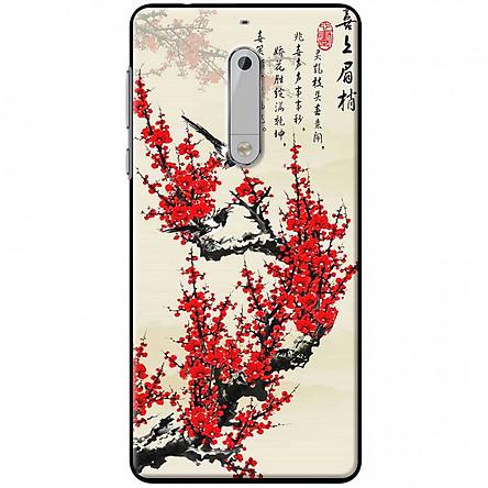Ốp lưng dành cho Nokia 5 mẫu Hoa đào đỏ thư pháp