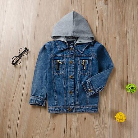 Autumn Baby Girl Hooded Design Denim Jacket Coat Outdoor Long Sleeve Outerwear