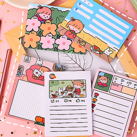 Giấy note ghi chú 50 tờ nhỏ gọn tiện lợi nhiều họa tiết cute cùng nhiều màu sắc lung linh phù hợp cho mọi lứa tuổi – H053