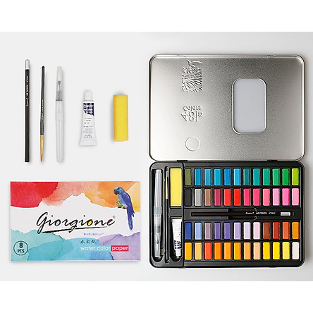 Bộ 48 màu nước vẽ Cao Cấp- Tặng kèm Bút Nước,Bút Lông, Bút Chì, Miếng Mút, Giấy vẽ