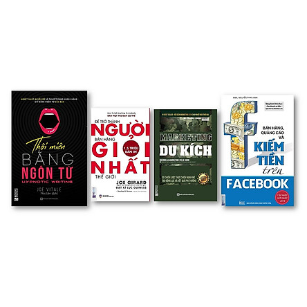 Combo Để trở thành người bán hàng giỏi nhất thế giới + Bán hàng, quảng cáo và kiếm tiền trên Facebook + Thôi miên bằng ngôn từ + Marketing du kích )(Tặng bookmark độc đáo CR)