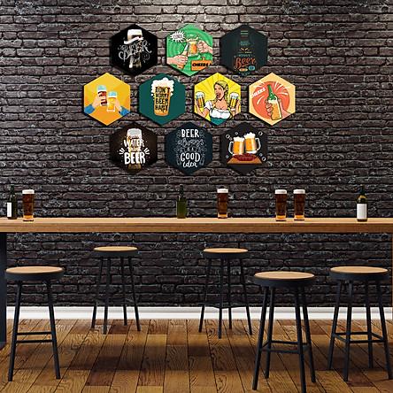 Tranh Formex 3D Chủ đề Beer Dán Tường Chuyên Dùng Để Trang Trí Mô Hình Quán Bia, Cafe Bia, Bia Hơi, Bar, Pub - Phụ kiện Decor cho Quán Ăn, Nhà Hàng, Quán Nhậu -  Chất Liệu Decal Vải Cán Trên Formex 5mm, Không Thấm Nước, Không Bay Màu