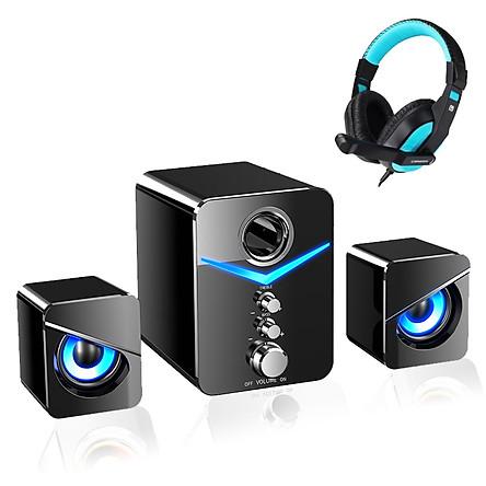 Combo Loa Máy Vi Tính Soundmax SADA D-221, Hiệu Ứng Đèn Led Tuyệt Đẹp + Tặng Tai Nghe Chụp Tai Gaming CT-770