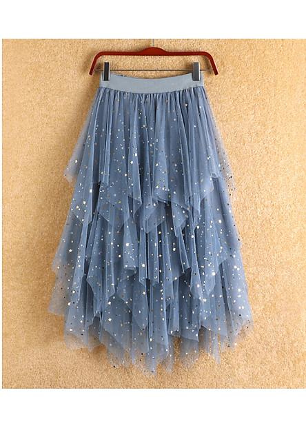 Chân váy ren Tulle - Tutu xòe tròn xếp tầng đính trăng sao cao cấp mẫu hot VAY12 Free size