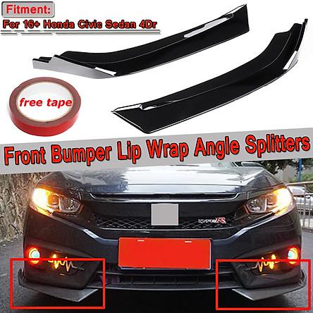 2Pcs Gloss Black Front Bumper Lip Body Kit Spoiler Splitter For Honda Civic 2016-2018