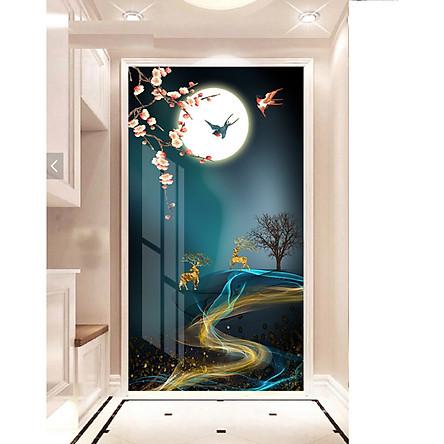 Tranh treo tường phòng khách, phòng ngủ -Tranh treo 1 tấm dọc M26611/ Gỗ MDF cao cấp phủ kim sa/ Chống ẩm mốc, mối mọt/Bo viền góc tròn