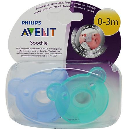 Vỉ 2 núm ty ngậm đúc khối Philips Avent chuẩn y tế SCF194/00 cho bé từ 0-3 tháng