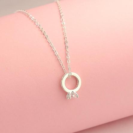 Dây chuyền bạc nữ, vòng cổ bạc nữ đẹp đơn giản mặt hình chiếc nhẫn đính đá DCN0453 | Tiki.vn