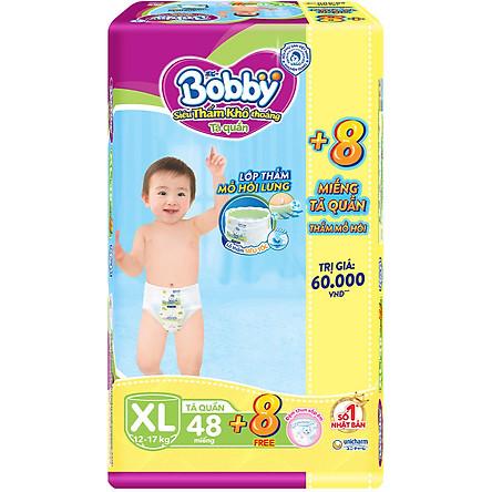 Tã quần Bobby - Đệm Lưng Thấm Mồ Hôi XL48 (48 miếng) - Tặng 8 miếng trong gói