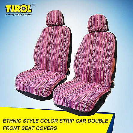 4-piece Tirol Universal Double Front Seat Covers Color Strip Car Seat Cover Front Seat Protectors Ethnic Style Seat