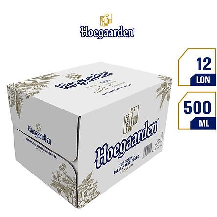 Thùng 12 Lon Bia Hoegaarden White Bỉ - Bia Lúa Mỳ Chính Hiệu (500ml/ lon)