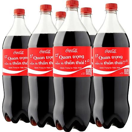 Lốc 6 Chai Nước Giải Khát Có Gas Coca-Cola Ít Đường Phiên Bản Coke Music (1,5L x 6)