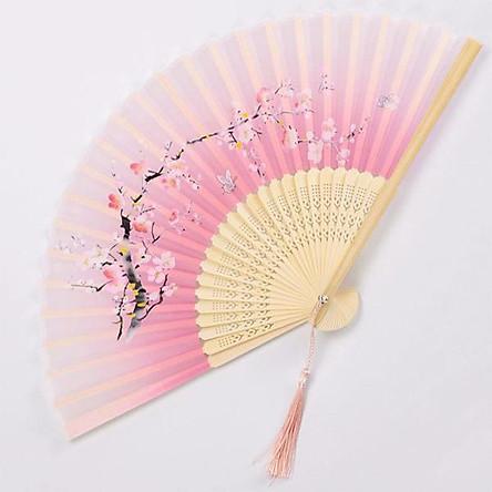 Quạt cổ trang hoa đào nền trắng hồng quạt trúc xếp cầm tay phong cách Trung Quốc in hoa trang trí
