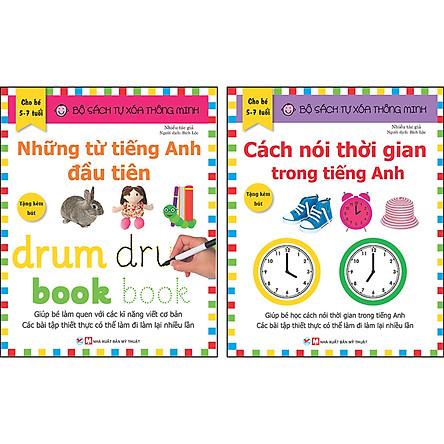 Combo Trọn Bộ 2 Cuốn: Bộ Sách Tự Xóa Thông Minh - Những Từ Tiếng Anh Đầu Tiên + Cách Nói Thời Gian Trong Tiếng Anh ( 5 -7 tuổi ) - Tặng Bút Xóa