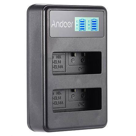 Ổ Sạc Pin Li-Ion En-El14/14A Màn Hình LCD Dây USB Andoer Cho Máy Ảnh Nikon D3100 D3200 D3300 D5100 D5200 D5300 D5500 Df Coolpix P7000 P7100 P7700 P7800 (2 Khe)