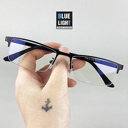 Kính Giả Cận, Gọng Kính Cận Nam Nữ Mắt Vuông Nửa Gọng Thanh Lịch Không Độ Hàn Quốc - BLUE LIGHT SHOP