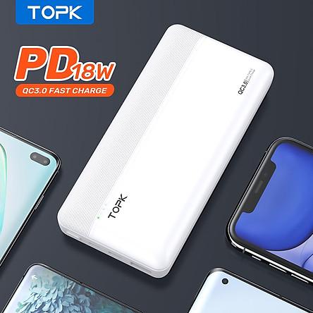[ HÀNG CHÍNH HÃNG] Sạc dự phòng TOPK I2015P 18W 20000mAh cho HUAWEI Samsung Xiaomi OPPO Vivo Realme